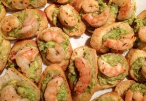 Shrimp and avocado crostini
